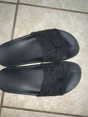 Authentic Gucci Logo Black Sandals! for Sale in Bakersfield, CA