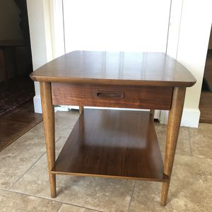 Mid Century Lane Walnut End Side Table with Drawer and Shelf for Sale in Milwaukie, OR