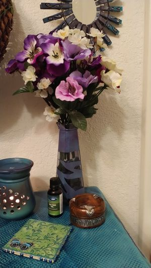 Painted vase with artificial flowers and painted rocks for Sale in Portland, OR