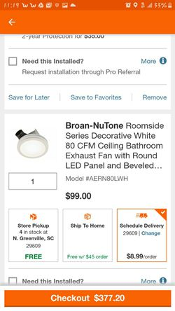 NuTone 80 CFM bathroom exhaust fan with light for Sale in Greenville,  SC
