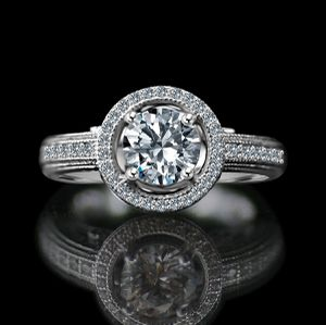 3/4 CT. Round Stunning vintage micro pave floating halo engagement sterling silver ring, Simulated Diamond, Diamond Veneer. 635R4001 for Sale in New York, NY