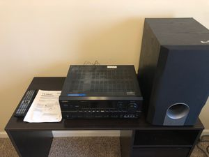 Onkyo TX-SR602 home theatre receiver with remote and subwoofer for Sale in Fayetteville, NC