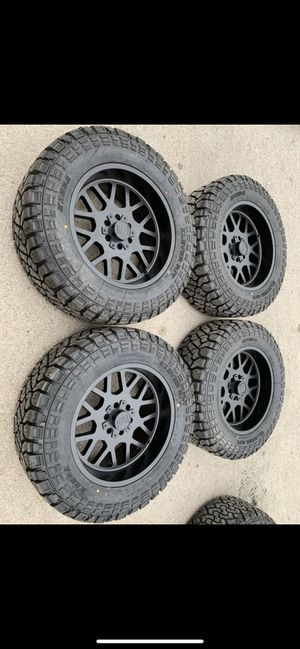 "New 20"" Black off road Rims and New tires 20 Wheels 20s Negros Rines y Llantas 6 Lug Universal Bolt pattern will Fit Ford F150 , Chevy Silverado, GMC for Sale in Dallas, TX"