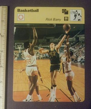 1977 Sportscaster Rick Barry The Golden Gunner State Warriors Sport Photo Large Over-sized Basketball Card HTF HOF Collectible Vintage Italy NBA for Sale in Salem, OH