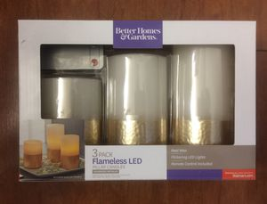 Brand new 3 Pack Flameless LED Pillar Candles, Hammered Metallic (pick up only) for Sale in Franconia, VA