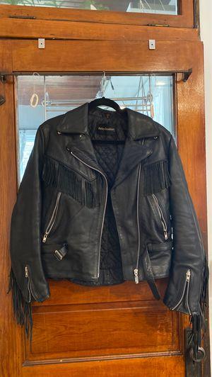 Vintage Wilson black leather fringe motorcycle jacket for Sale in Chicago, IL
