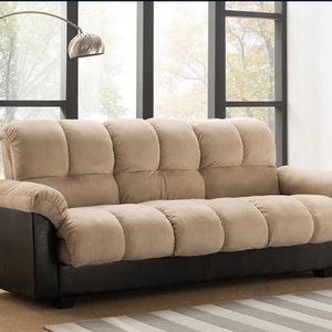 Brand New In Box BEIGE Fabric Click Clack Sofa Bed With Storage for Sale in Pomona, CA