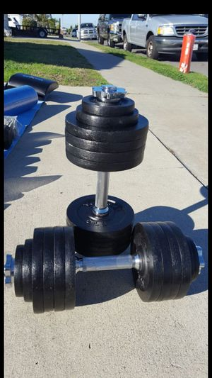 105 LBS. BLACK ADJUSTABLE DUMBELLS (NO LOW BALLERS WILL BE BLOCKED) for Sale in Westminster, CA