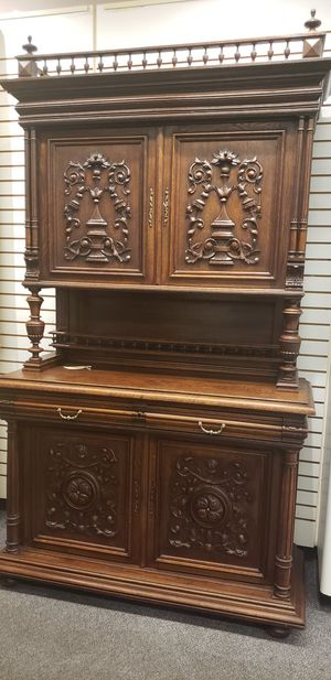 Antique French Gothic Carved Oak Kitchen Dresser, Cabinets, Sideboard for Sale in Boynton Beach, FL