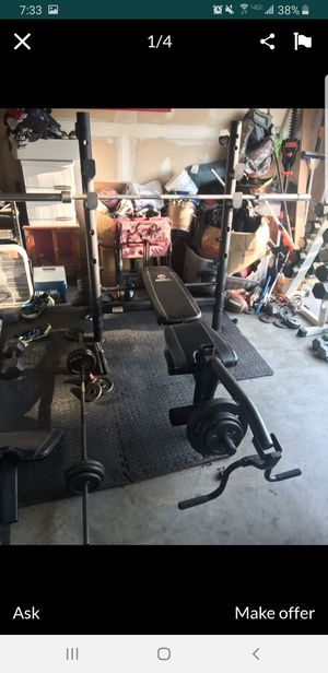 Weight Bench - Flat Incline Adjustable Bench w Squat Rack, Bench Press, Leg Extension, Preacher Curl - EXCELLENT (weights and bar NOT included) for Sale in Mansfield, TX