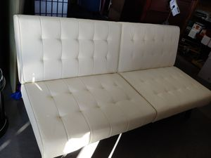Beautiful off-white leather like futon sofa split-back 3-position $179.99 for Sale in Phoenix, AZ
