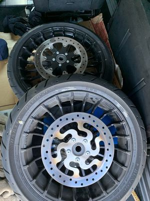 2019 Harley Davison stock rims and tires brand new and sitting in the garage. Stock fender and brand new light housing as well for Sale in Los Angeles, CA