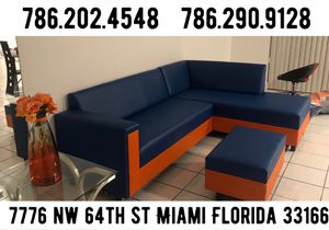 Leather couch two tone never used for Sale in Medley, FL