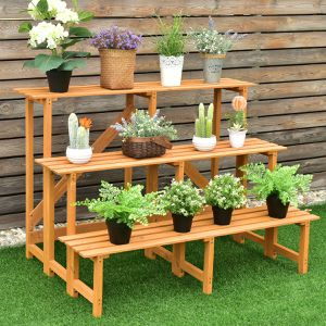 3-Tier Wide Wood Flower Pot Step Ladder Plant Stand for Sale in Wildomar, CA