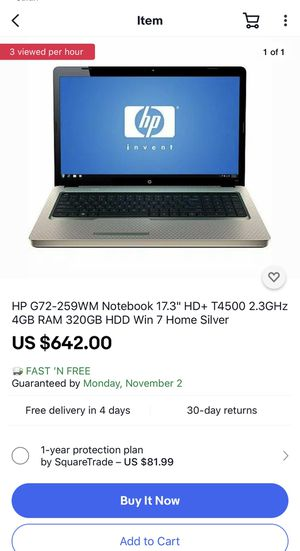 "HP G72-259WM Notebook 17.3"" HD+ T4500 2.3GHz 4GB RAM 320GB HDD Win 7 Home Silver for Sale in Atlanta, GA"