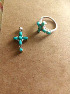 New. Turquoise cross pendant and cross ring size 7. for Sale in Fullerton, CA