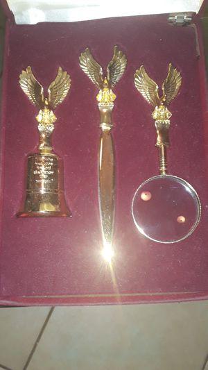 Vintage eagle brass magnifying glass & bell letter opener desk set for Sale in Chicago, IL