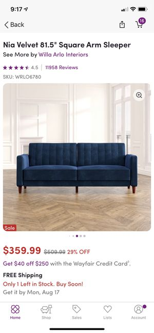 Blue futon for Sale in Nashville, TN