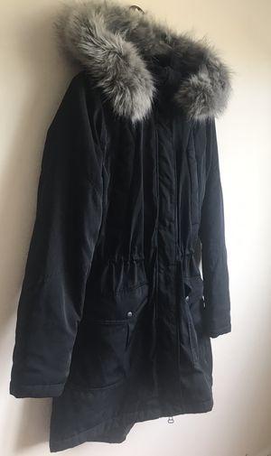 Black fur-lined parka jacket for Sale in Bridgeport, CT