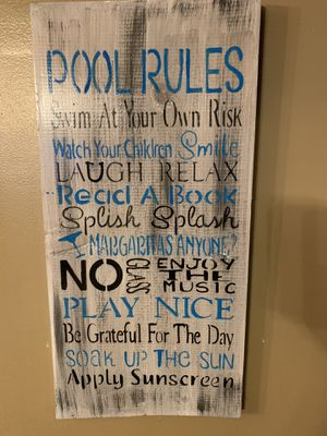 Homemade pool rules decor for Sale in Cleveland, OH