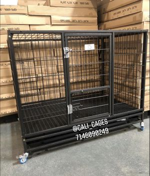 Dog pet cage kennel size 43 large folding with plastic floor tray and wheels new in box 📦 for Sale in Pomona, CA