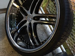 22 inch starggered black and chrome rims off of cL Mercedes-AMG for Sale in Alexandria, VA