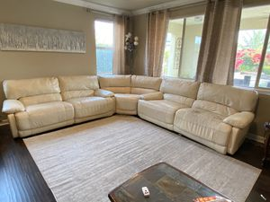 Macy's Leather Power Sectional Couch Sofa for Sale in Clovis, CA