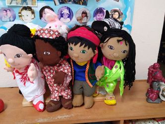 Puppets Multiethnic Wooden Stand Included for Sale in San Diego,  CA