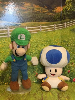 Super Nintendo Luigi and Blue Toad plushies for Sale in Tampa, FL