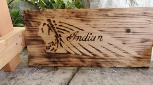 Indian Motorcycle logo burnt into wooden floorboard for Sale in Fountain Valley, CA