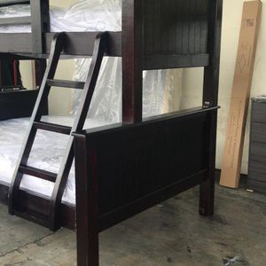 New PINEWOOD Bunk Bed Twin Over Full SIZE With Mattresses Included All For 700 Plus Delivery for Sale in Los Angeles, CA