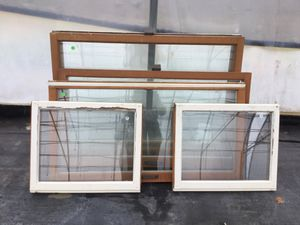 Assorted old fir windows. Stained on inside - Painted white on outside for Sale in Edgewood, WA