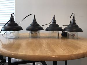 Upcycled Farm Style Pendant Lights With Edison Style LED Lights for Sale in Hanover, MD