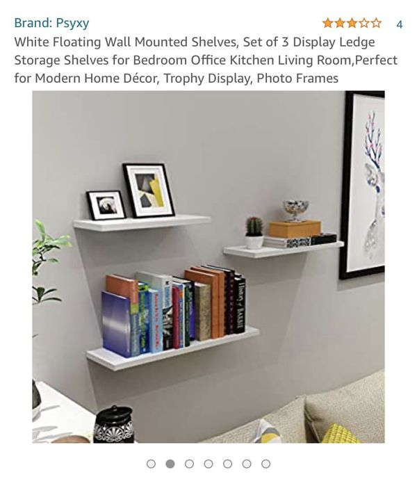 White Floating Wall Mounted Shelves - set of 3