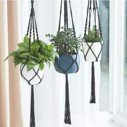 Brand NEW Macrame Plant Hanger 3pcs Black Indoor Hanging Planter Basket Flower Pot Holder Cotton Rope with Ceiling Hook,Same Size,4 Legs 39 Inch for Sale in Los Angeles,  CA
