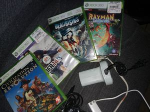 Xbox 360 controller and charging dock and 4 games for Sale in Plano, TX