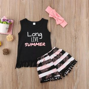 New Toddler Kids Baby Girl Vest Tops T shirt+ Short Pants Headband Outfit Set Clothes sweet and cute fashion trend wild for Sale in Los Angeles, CA