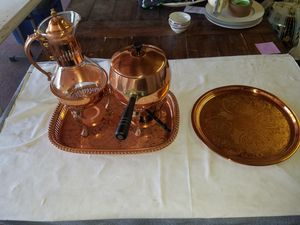 Copper Fondue Sterno set with copper sterno coffee pot and two copper trays A93Z036 for Sale in West Covina, CA