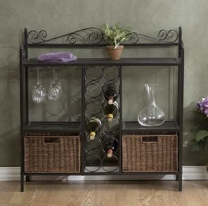 Celtic Baker's Rack with Wine Storage - Wrought Iron - Gunmetal Finish for Sale in Los Angeles, CA