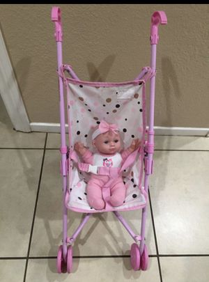 Toy stroller with baby doll great condition for Sale in Irving, TX