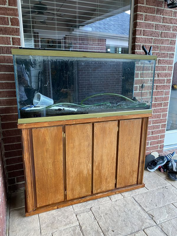 55 gallons fish tank can aquarium with wood stand, eheim 2217 filter