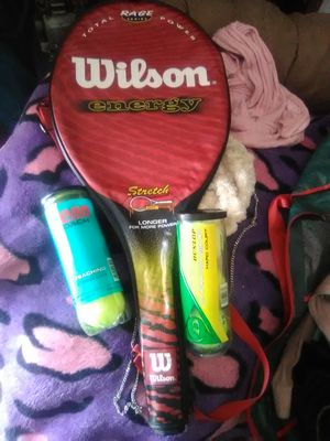 Tennis racket with case and 2 packs of balls for Sale in Colton, CA