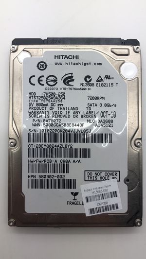 Hitachi 7K500-250 250GB SATA Hard Disc Drive HDD with bracket for Sale in North Miami Beach, FL