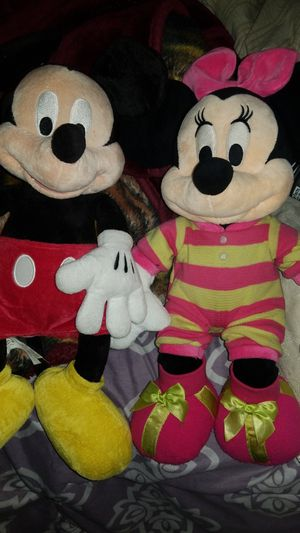 18 inches Mickey y minnie mouse teddy bear's 2 for $7 for Sale in San Bernardino, CA