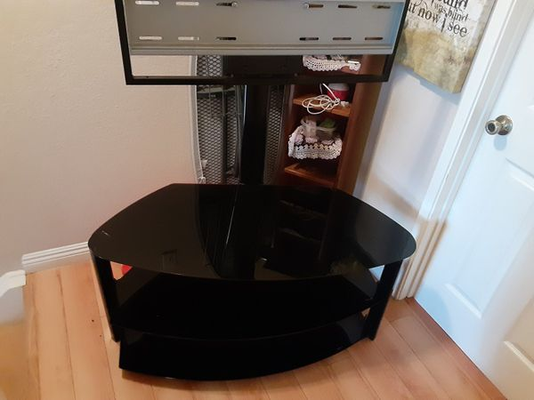 TV Stand With Black Glass