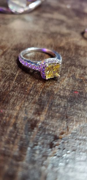 Silver wedding ring with yellow stone for Sale in Fresno, CA