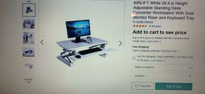 Adjustable Standing Desk Converter Workstation with Dual Monitor Riser and Keyboard Tray for Sale in San Jose, CA