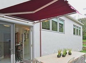 New in box Manual Patio 10 feet wide × 8' Retractable Sunshade Awning deck cover sun block canopy shade burgundy green or beige color for Sale in Covina, CA