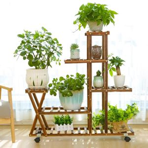 Wooden Flower Plant Stand 4-Layer Bamboo Flower Pot Display Stand Shelf with Wheels for Living Room Balcony Patio Yard Indoors or Outdoors for Sale in Whittier, CA