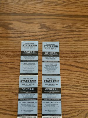 4 Washington State Fair General Admission Tickets for Sale in BETHEL, WA